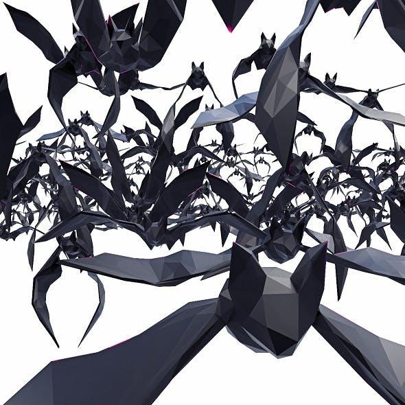 Bat Poses Flying 11 models Low Poly