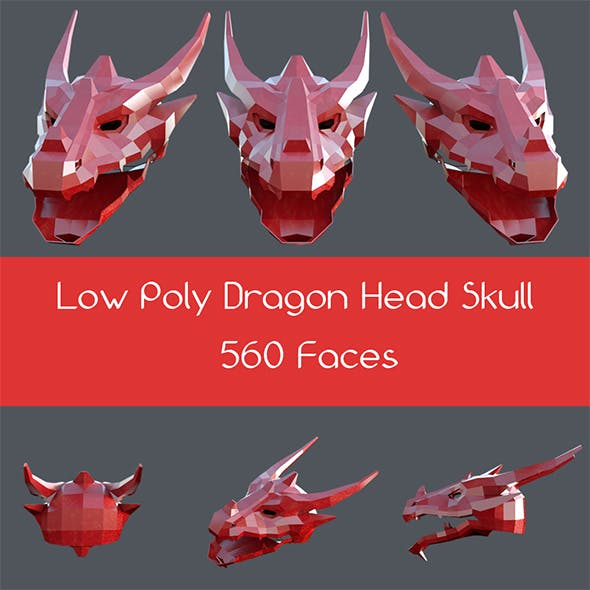 Low poly dragon head skull
