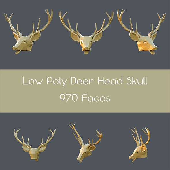 Low poly deer head skull - 3DOcean Item for Sale