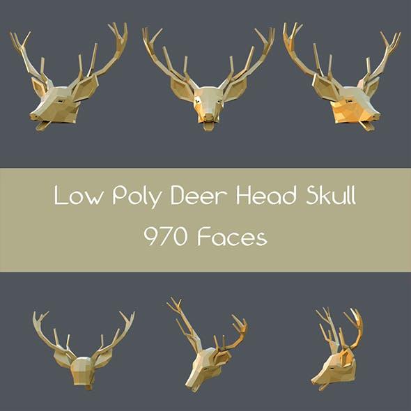 Low poly deer head skull