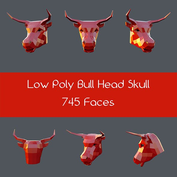 Low poly bull head skull - 3DOcean Item for Sale