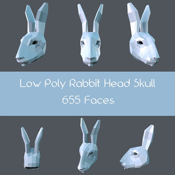 Low poly rabbit head skull - 3DOcean Item for Sale