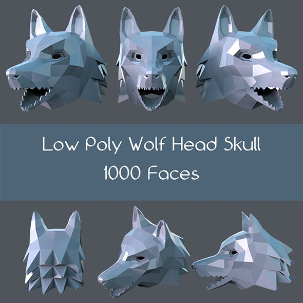 Low poly wolf head skull