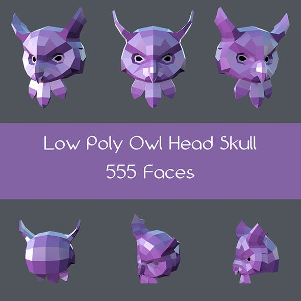 Low poly owl head skull - 3DOcean Item for Sale