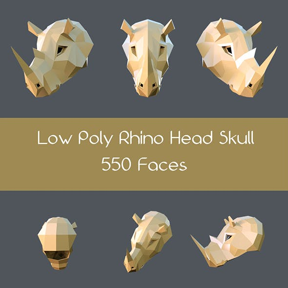Low poly rhino head skull - 3DOcean Item for Sale