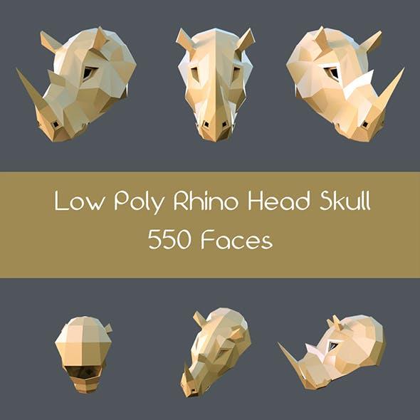 Low poly rhino head skull
