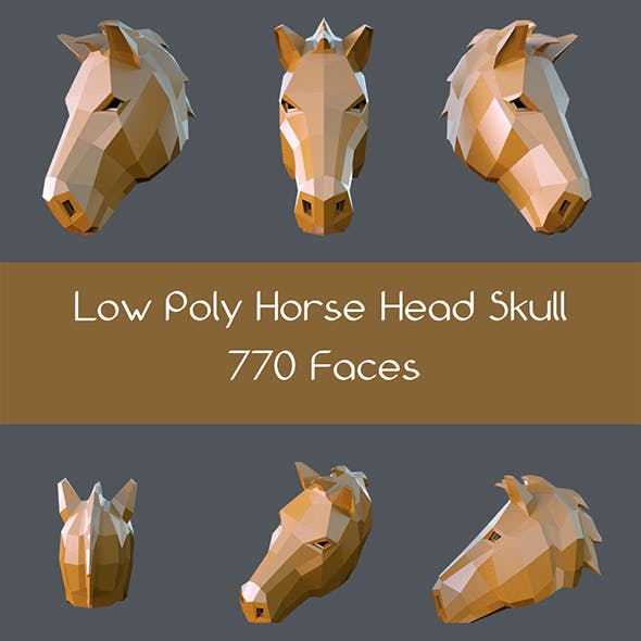 Low poly horse head skull