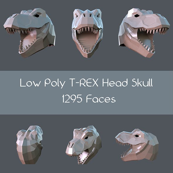 Low poly t-rex head skull - 3DOcean Item for Sale