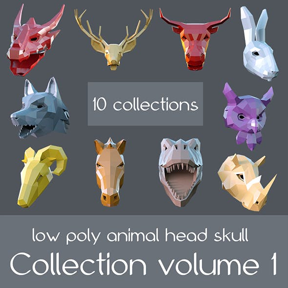 low poly animal head skull volume 1 collection