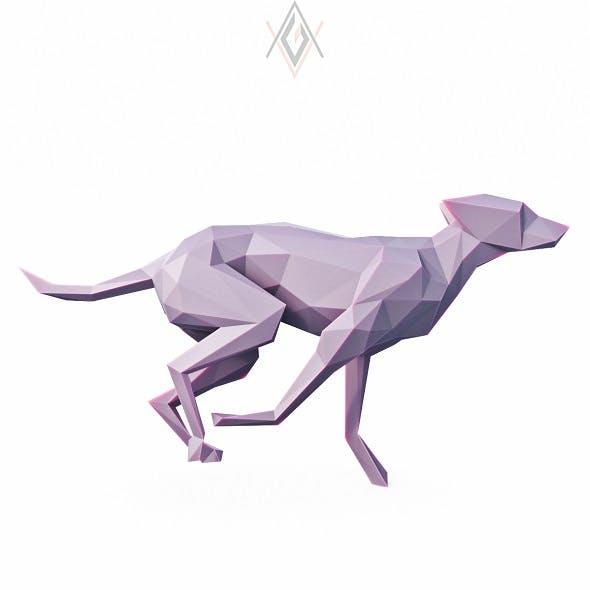 Dog Run Pose Low Poly