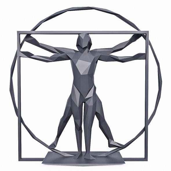 The Vitruvian Man Sculpture Low Poly