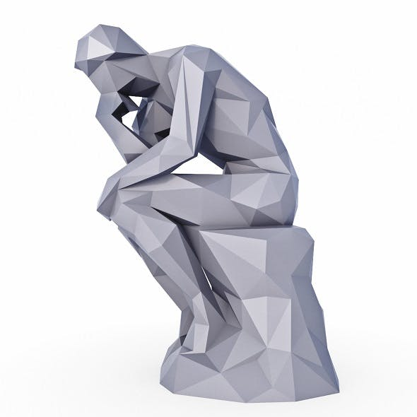 Thinker Sculpture Low Poly - 3DOcean Item for Sale