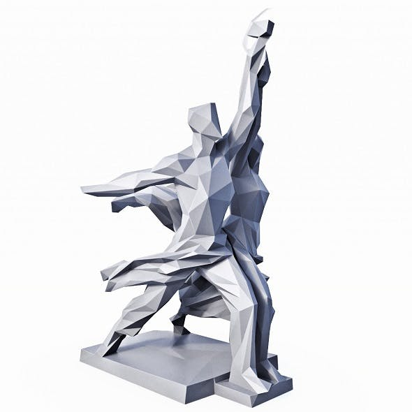 Worker and Kolkhoz Woman USSR Sculpture Low Poly