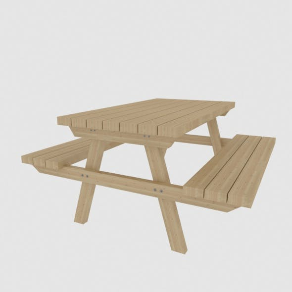 Picnic wooden table - 3DOcean Item for Sale