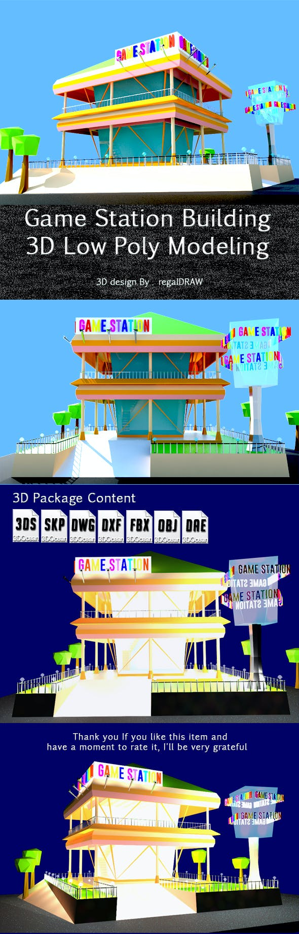 Game Station Building_3D Low Poly Modeling - 3DOcean Item for Sale