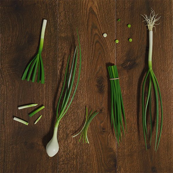 Green Onion Low Poly photorealistic scene - 3DOcean Item for Sale