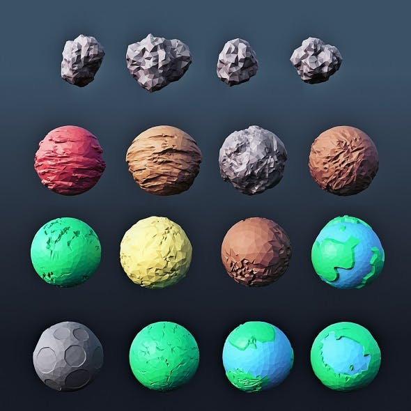 Planets and Asteroids Low Poly - 3DOcean Item for Sale