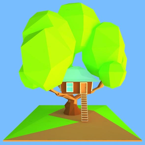 Tree House_3D Low Poly Modeling