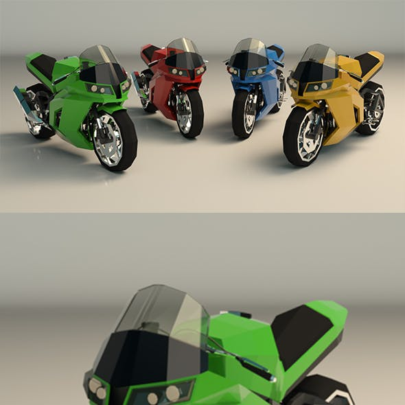 Low Poly Motorcycle 04