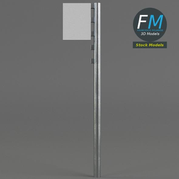 Street pole with board