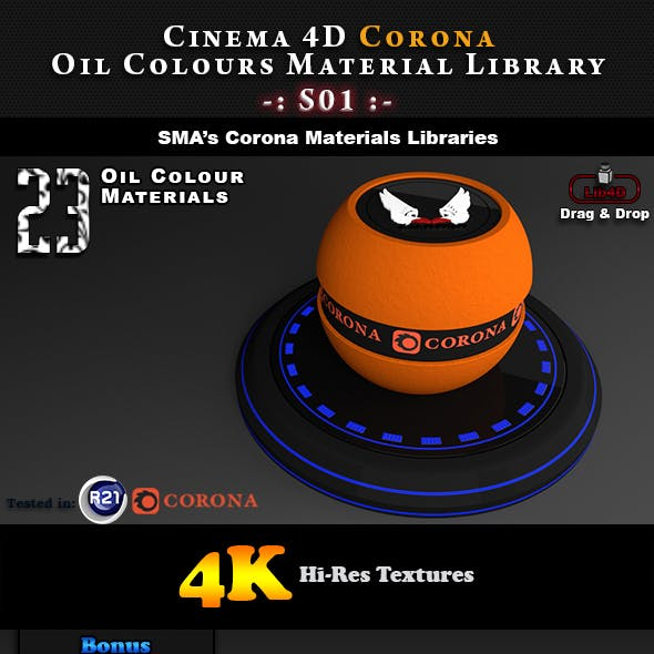 23 x Corona Oil Colour Materials S01 for Cinema 4D