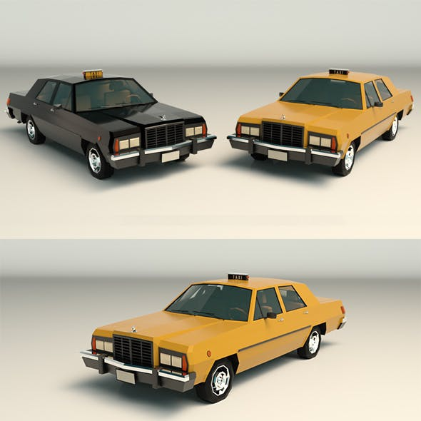 Low Poly Taxi Cab 02