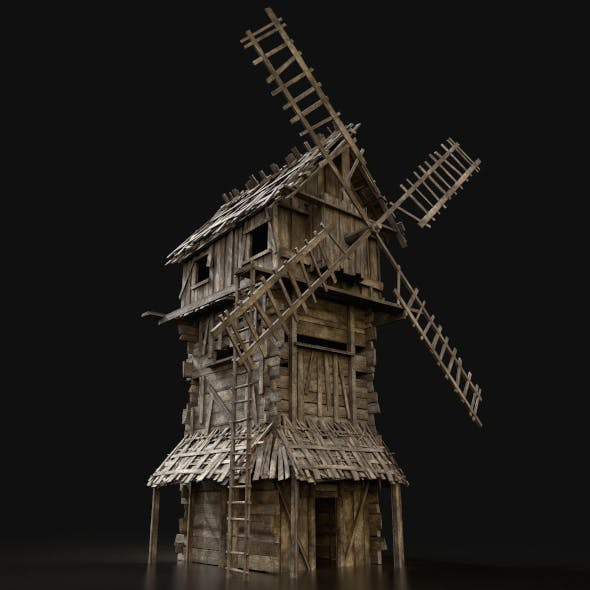 Wooden Enterable Windmill - 3DOcean Item for Sale