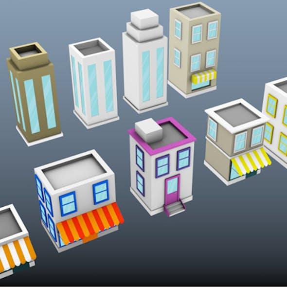 Low Poly Cartoon Buildings