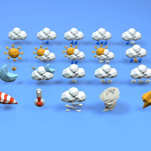 Cartoon Style Lowpoly3D Weather Icon Set