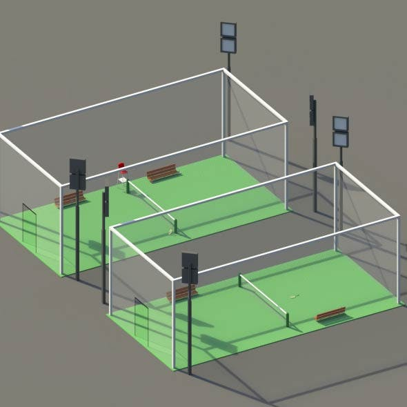 Low Poly Tennis Courts