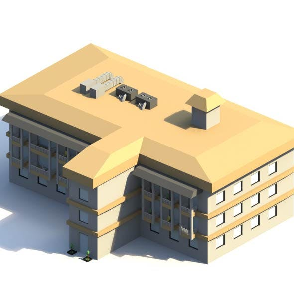 Low Poly Hotel Building
