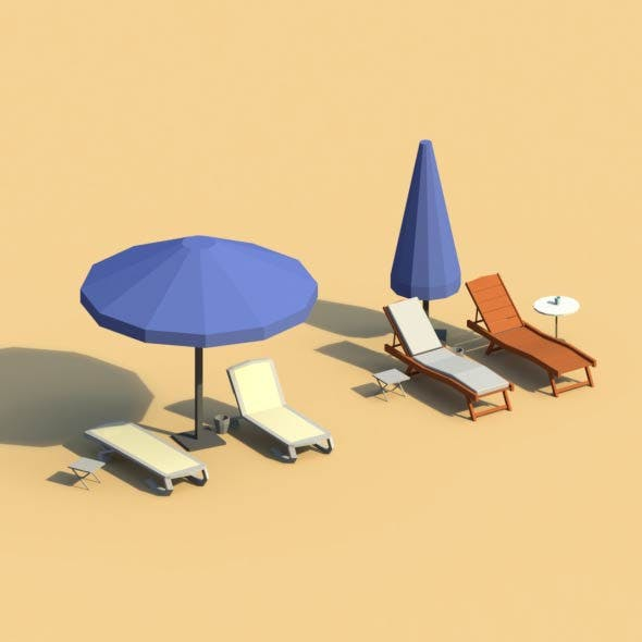 Low Poly Sunbeds and Umbrellas