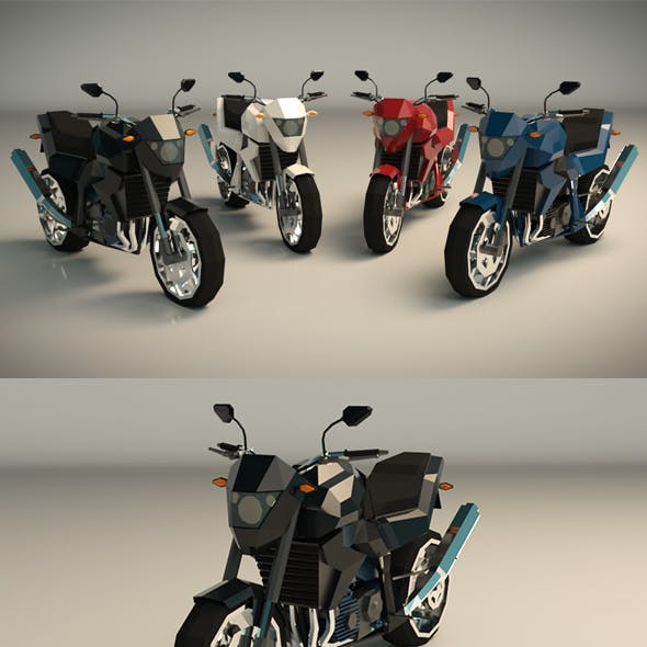 Low Poly Motorcycle 06
