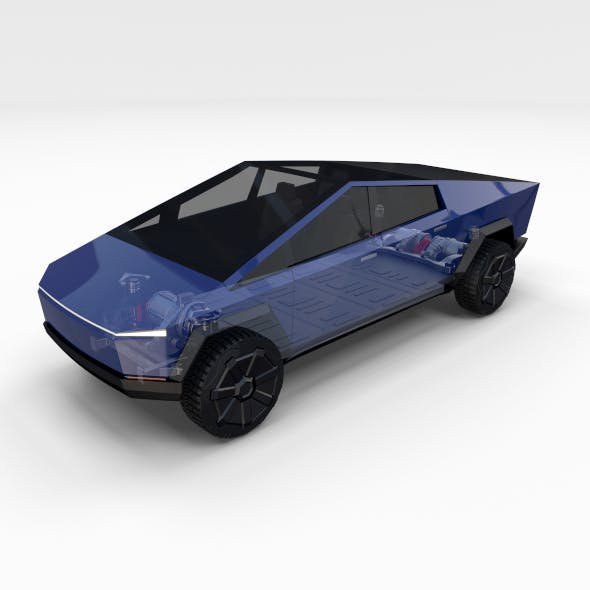 Tesla Cybertruck with chassis Blue - 3DOcean Item for Sale