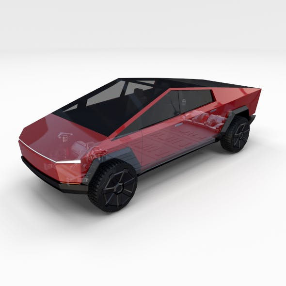 Tesla Cybertruck with chassis Red - 3DOcean Item for Sale
