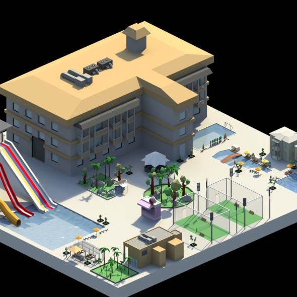 Low Poly Holiday Resort - 3DOcean Item for Sale