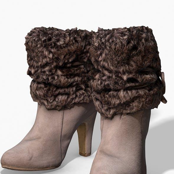 Fur Trim Heel Boots - Photoscanned PBR