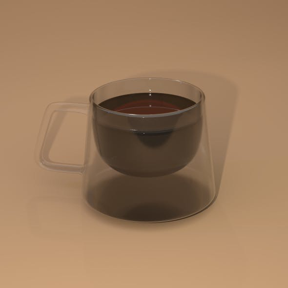 Square double glass cup