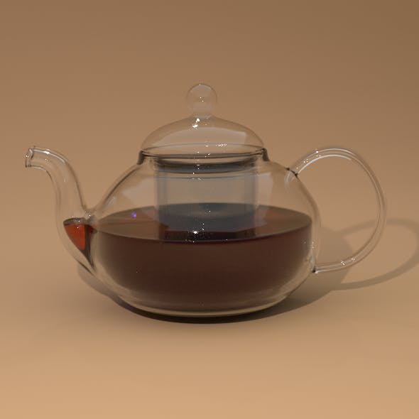 Glass kettle with cap and teapot
