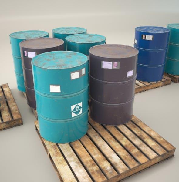 Wooden Pallet with Barrels - 3DOcean Item for Sale