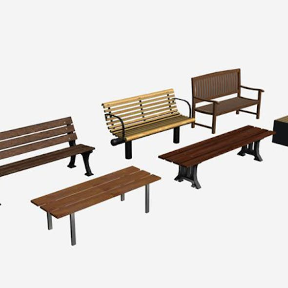low-poly 3D model benches