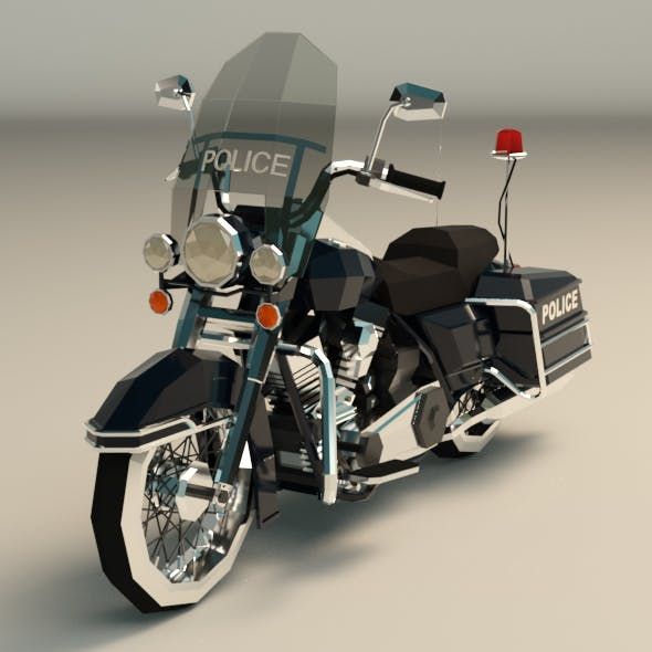 Low Poly Police Motorcycle - 3DOcean Item for Sale