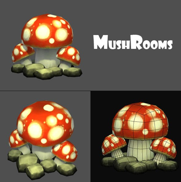 Mushrooms Low Poly - 3DOcean Item for Sale