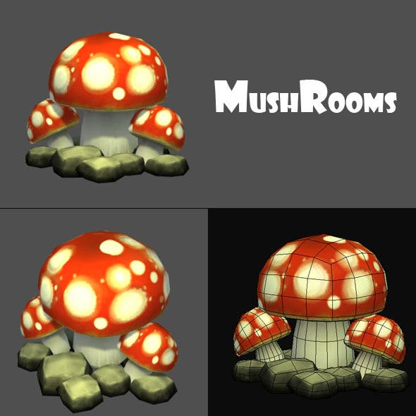 Mushrooms Low Poly
