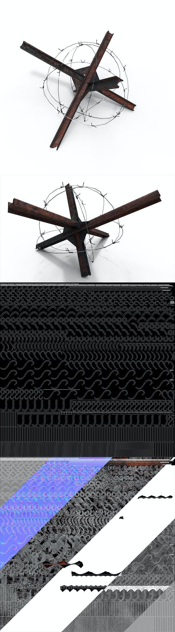 anti-tank hedgehog spines PBR - 3DOcean Item for Sale