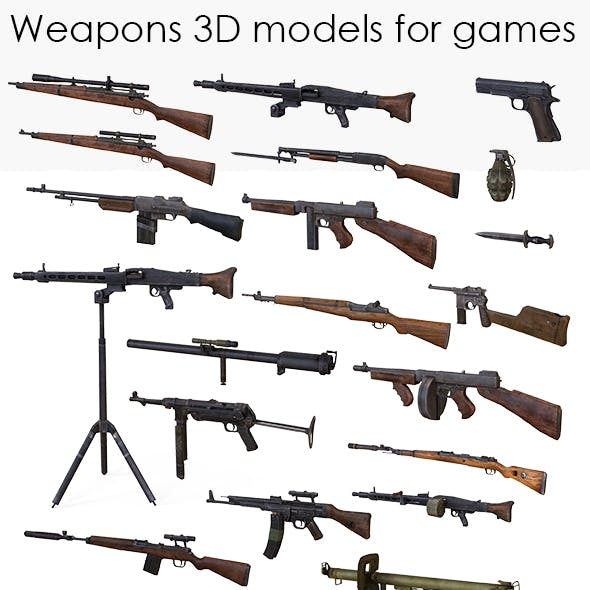 Weapons Models for Games Low Poly