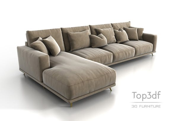 Corner sofa 3D model - 3DOcean Item for Sale