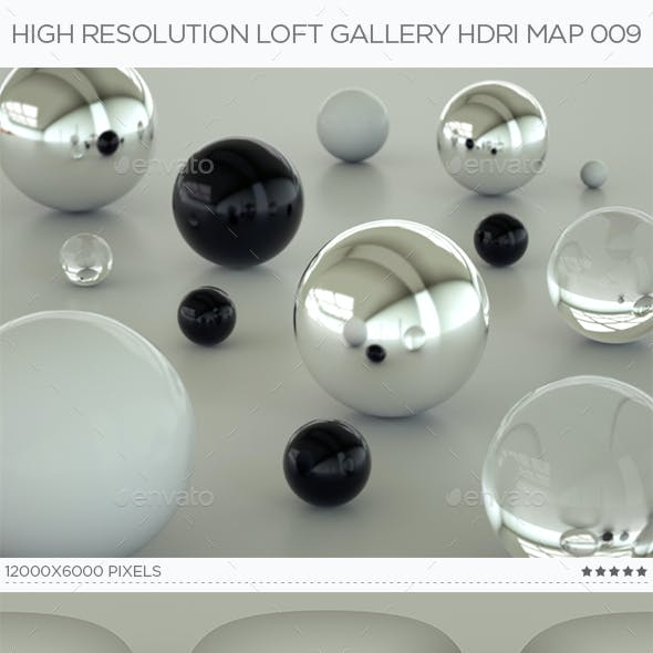 High Resolution Loft Gallery HDRi Map 009