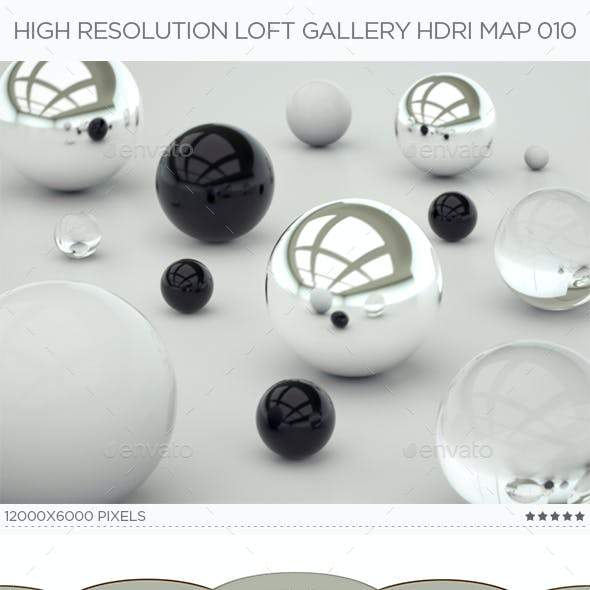 High Resolution Loft Gallery HDRi Map 010