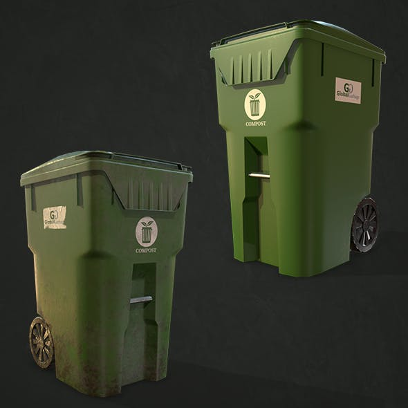 Plastic Trash Bin with Garbage Bags - Low Poly
